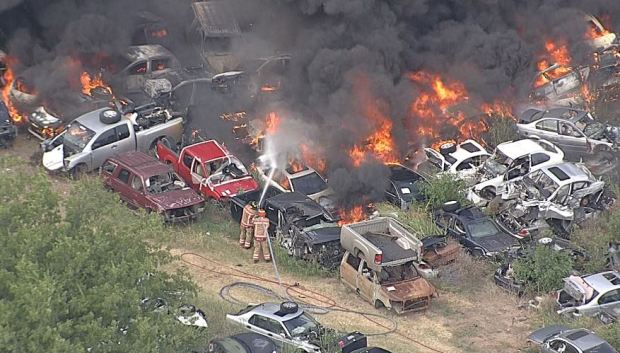 Massive Fire at Salvage Yard