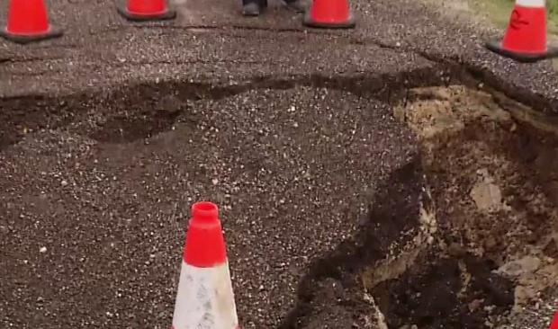 Flooding Creates Major Pothole in Cleburne