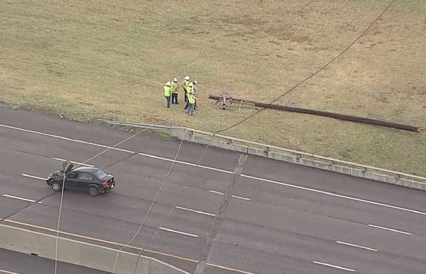 Storms Knock Powerlines Across Dallas Highway
