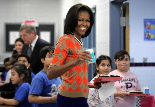 Michelle Obama Joins Kids for Lunch at Va. School
