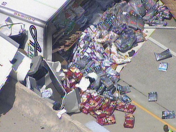 Truck Spills Dog Food Over I-35E