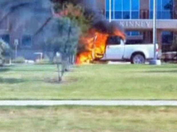 [DFW] Cell Phone Video: Truck on Fire Outside McKinney PD