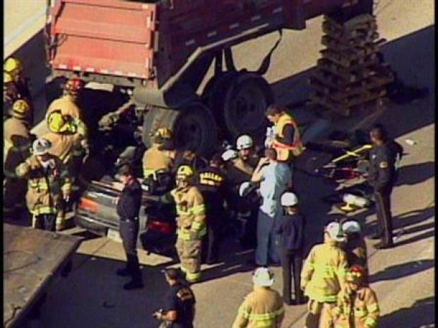 [DFW] Driver Extricated After Rock Hauler Crushes Car