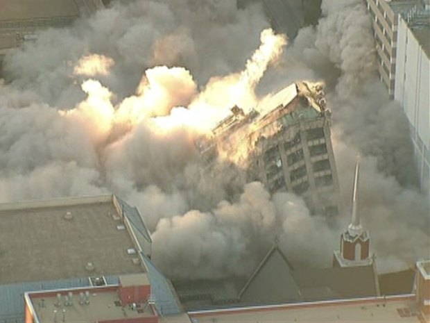 Chopper: First Baptist Dallas Implosion