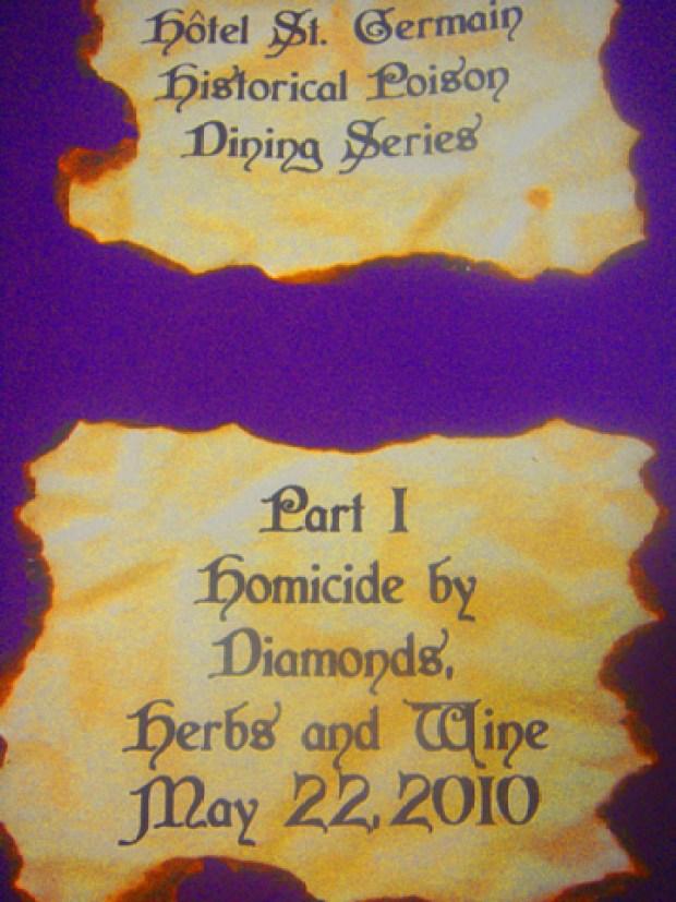 Where We Were: Homicide by Diamonds, Herbs & Wine