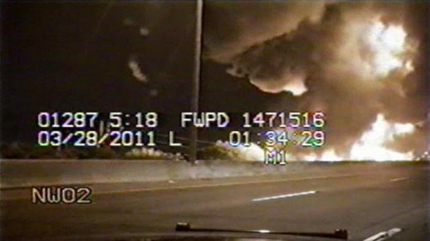 [DFW] Raw Video: FWPD Dashcam of Tanker Crash