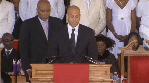 [NY] Newark Mayor Cory Booker Speaks at Whitney Houston's Funeral
