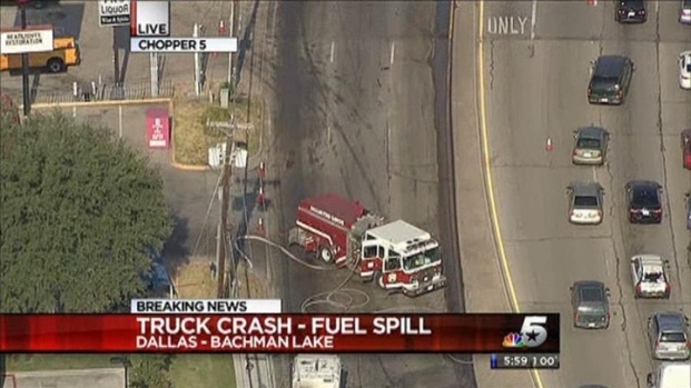 [DFW] Diesel Spill After Crash Causes Traffic Trouble