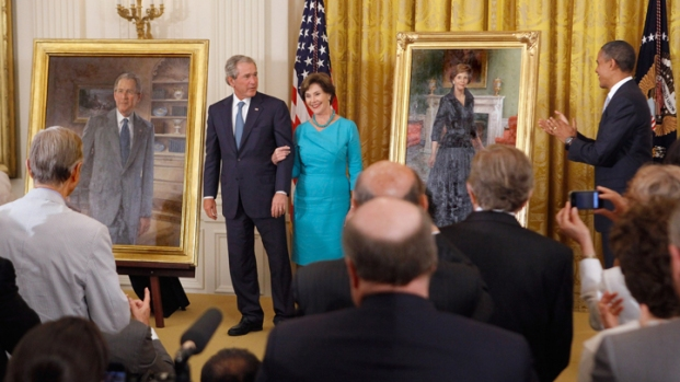 [DFW] Bushes Get Laughs at Portrait Unveiling