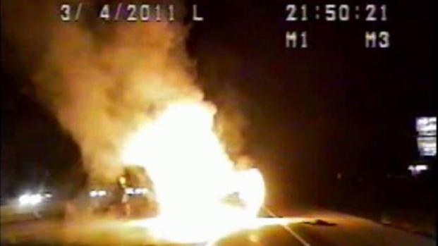 [DFW] Warning: Profanity: Dash-Cam Footage Shows Rescue From Fiery Car