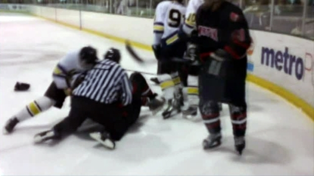 [DFW] Warning: Profanity: High School Hockey Players Brawl