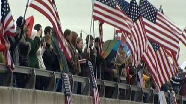 Thousands Line Roadside for Chris Kyle Funeral Procession