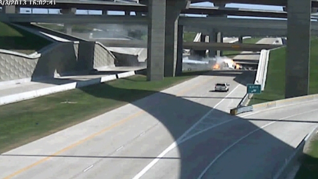 [DFW] NTTA Camera Shows Fiery SH 161 Crash