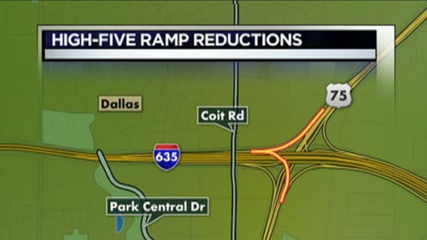 [DFW] US 75 Ramps to Westbound I-635 Down to One Lane