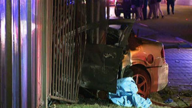 [DFW] Car Rams Fence, Bursts Into Flames