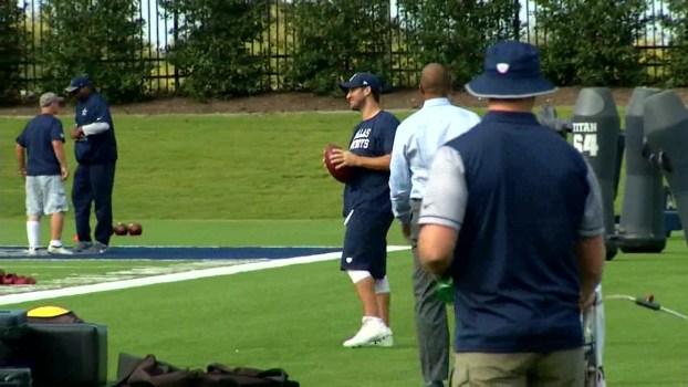 Tony Romo Throws at Practice Wednesday