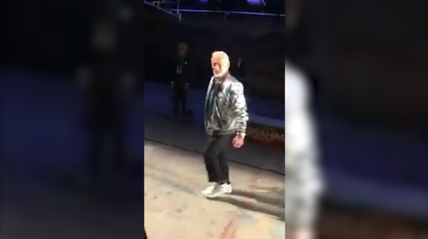 Buzz Aldrin Does Moonwalk on the Catwalk
