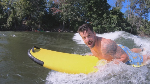 Surfs Up for Johnny in Montreal's St. Lawrence River