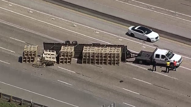 Overturned Truck Closes EB I-635 at Forest Lane