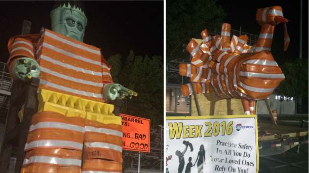 'Barrel Monsters' Promote Highway Safety
