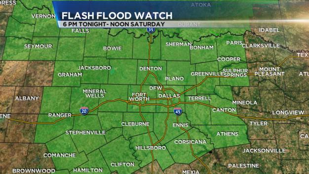 Flash Flood Watch in North TX Until Noon Saturday