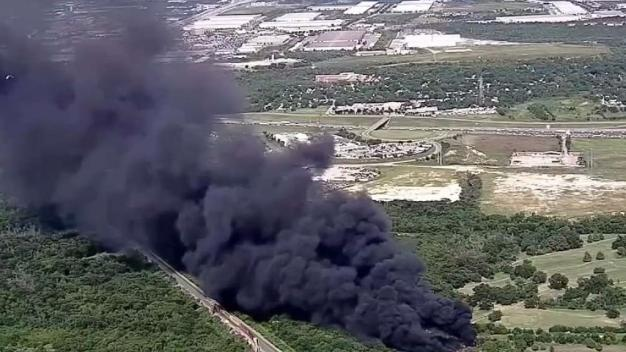 Tire Fire at Dallas Co. Race Track Produces Huge Smoke Plume