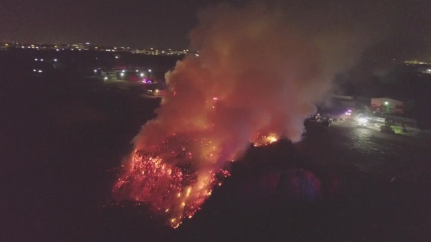 High Heat Sparks Massive Mulch Fire in Texas