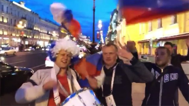 World Cup Fans Celebrate in the Streets of St. Petersburg