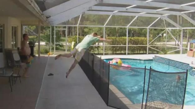 Dad Dives in Pool to Save Son From Near Drowning