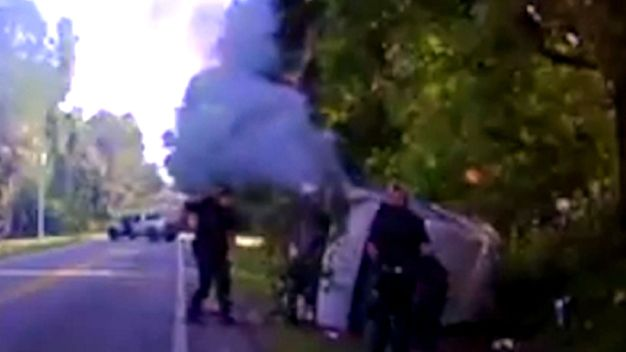 Dashboard Camera Captures Fiery Crash and Rescue