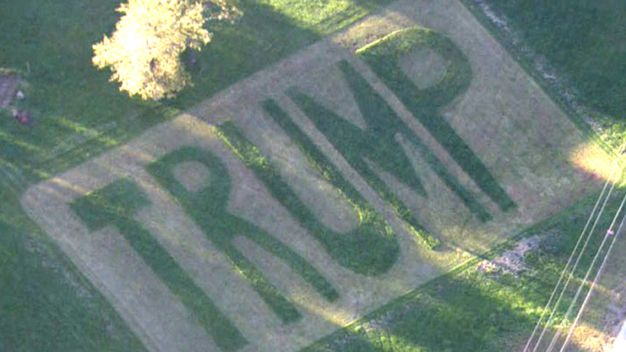 Man Carves Giant Trump into Lawn After Campaign Signs Stolen