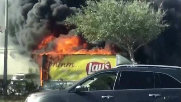 Potato Chip Truck Catches Fire