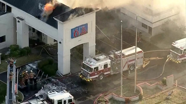 Raw Video: Two-Alarm Fire at Motel 6 in Irving