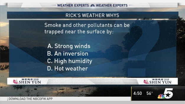 Weather Quiz: Smoke and Other Pollutants Can be Trapped Near the Surface by What?