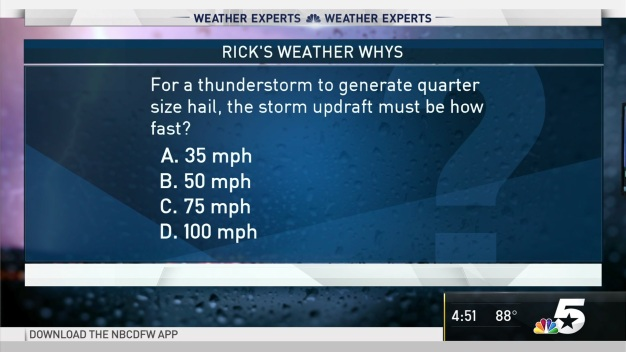 Weather Quiz: How Fast Must a Storm Updraft be to Produce Quarter Size Hail?