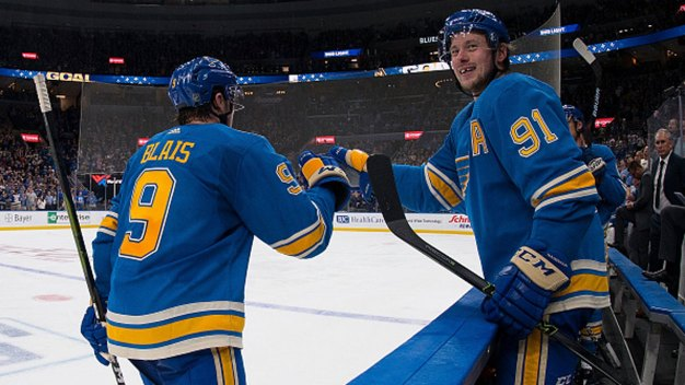 Blais Records Goal, Assist as Blues Beat Stars