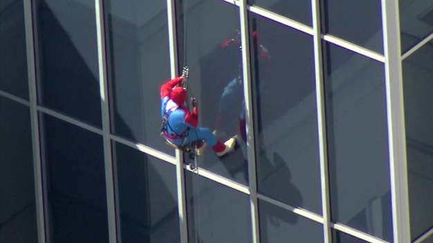 Spider-Man On Window Washing Duty