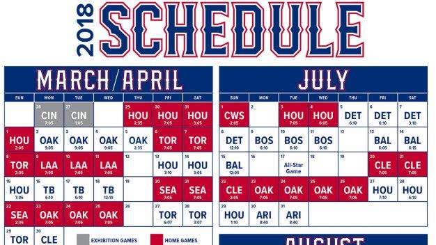 Texas Rangers Announce 2018 Game Times