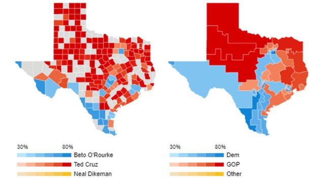 Texas Live Voting Results by County, Precinct