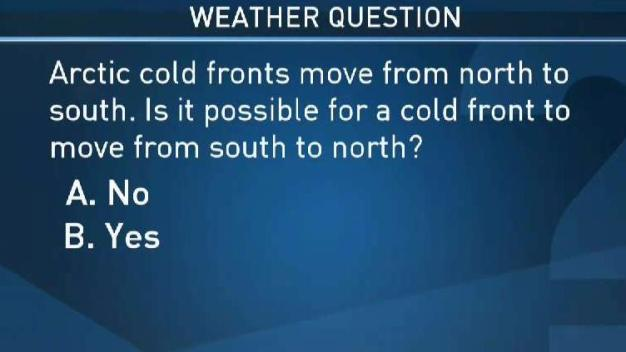 Weather Quiz: Is It Possible for a Cold Front to Move From South to North?