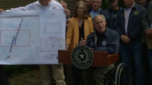 Governor Greg Abbott Shows a Track of the East Texas Tornadoes