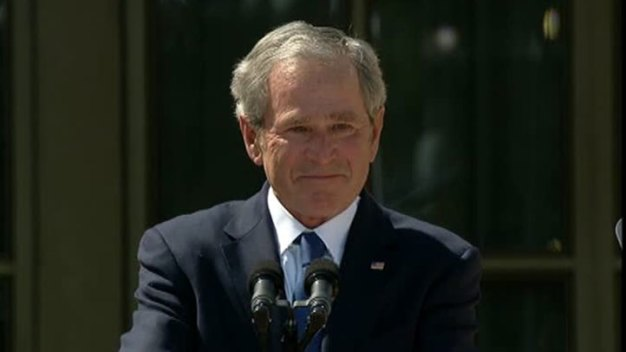 Bush Ends Dedication with Emotional Speech