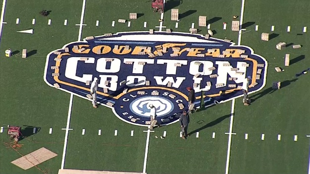 Cotton Bowl Turf Prepped in AT&T Stadium Parking Lot