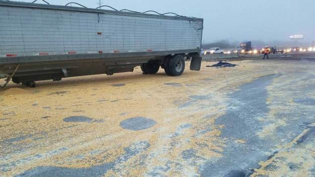 Big Rig Crash Spills Corn Across Fort Worth Highway