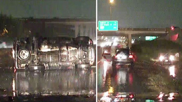 Slippery Roads: Rollover Crash on I-30 in Fort Worth