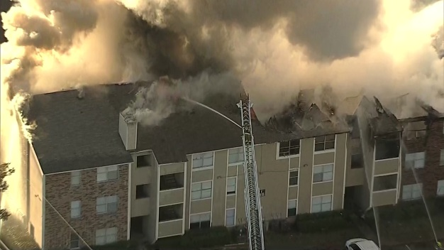 Raw Video: Firefighters Take on Huge Fire in NE Dallas
