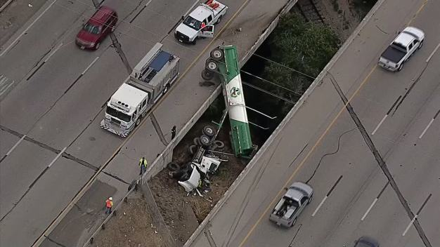 Rock Hauler Overturns, Slows Traffic in NW Fort Worth