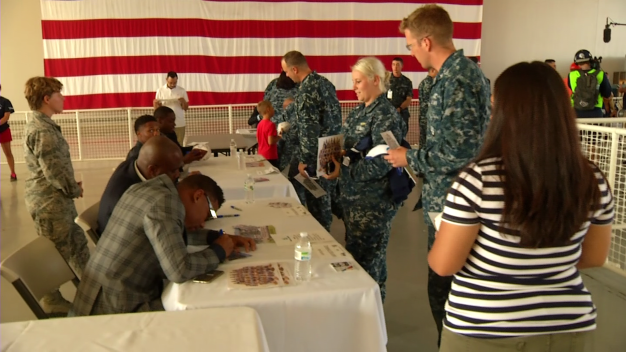 Cowboys Meet with Naval Air Station Point Magu Families En Route to Training Camp