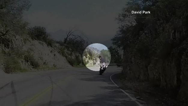 Motorcyclist Goes Over Cliff
