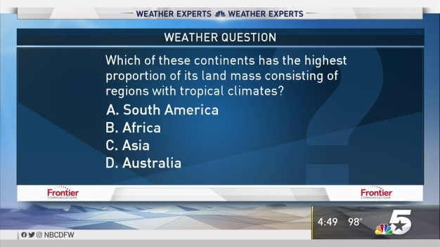Weather Quiz: Continents, Land Mass & Tropical Climates